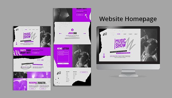 homepage elements of a website